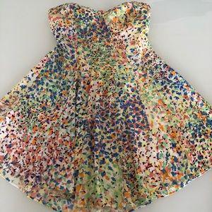 BCBG Strapless Floral Dress XS